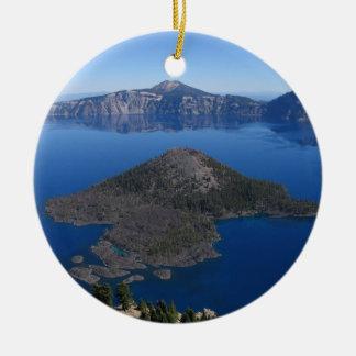 Wizard Island @ Crater Lake, Oregon Ceramic Ornament