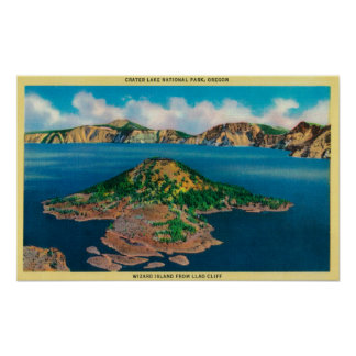 Wizard Island from Llao CliffCrater Lake, OR Print