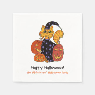 Wizard Kitty Cat and Pumpkins Halloween Party Disposable Napkin