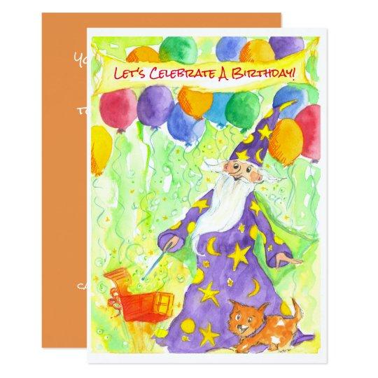 Wizard Magic Balloons Birthday Party Invitation