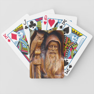 Wizard & Owl Emerge from Cave Wood Carving Poker Deck