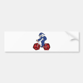 Wizard Riding Bike With 20 Sided Dice Wheels Bumper Sticker