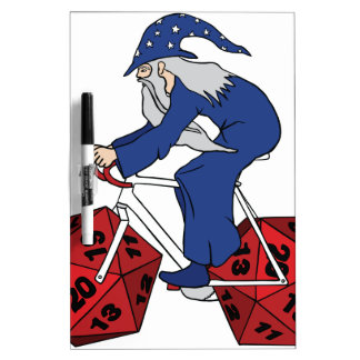 Wizard Riding Bike With 20 Sided Dice Wheels Dry-Erase Board
