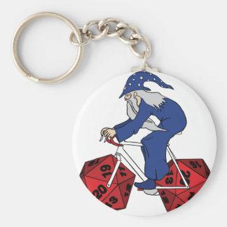 Wizard Riding Bike With 20 Sided Dice Wheels Keychain