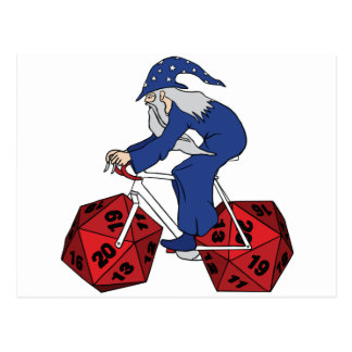 Wizard Riding Bike With 20 Sided Dice Wheels Postcard