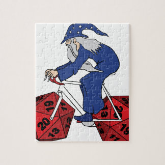 Wizard Riding Bike With 20 Sided Dice Wheels Puzzle