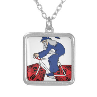 Wizard Riding Bike With 20 Sided Dice Wheels Silver Plated Necklace