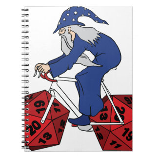 Wizard Riding Bike With 20 Sided Dice Wheels Spiral Notebook