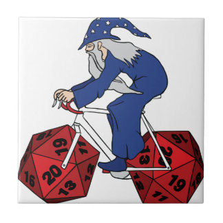 Wizard Riding Bike With 20 Sided Dice Wheels Tile