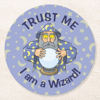 Wizard with Ball Round Paper Coaster