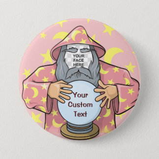 Wizard with your face 3 inch round button
