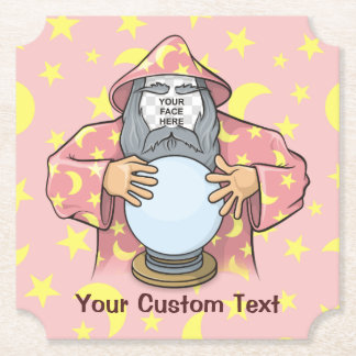 Wizard with your face paper coaster
