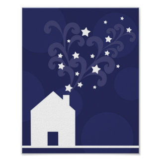 Wizards house puffs stars magic chimney silhouette print