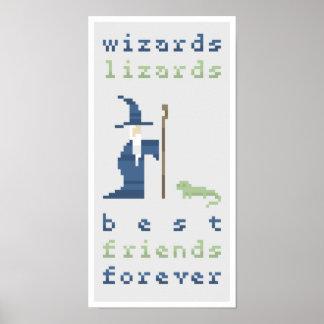 Wizards Lizards BFF's Pixel Art Poster