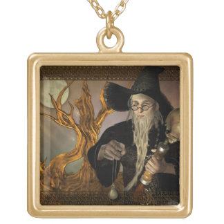 Wizards Magic Fantasy Illustration Square Pendant