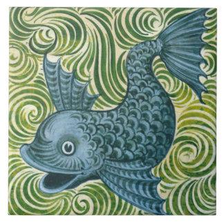 Wm De Morgan Left Facing Blue Dolphin Tile Repro