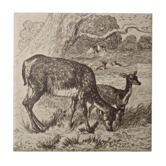 Wm Wise Minton Doe & Fawn Deer Antique Repro Sepia Tile