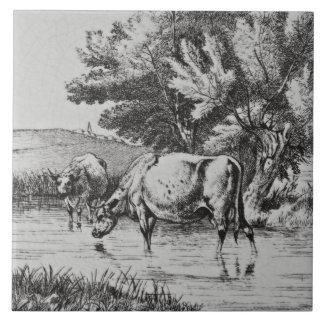 Wm Wise Minton Farm Animals Cows Tile Repro c 1879
