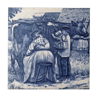 WmWise Minton Country Farm Family Cow Tile Repro