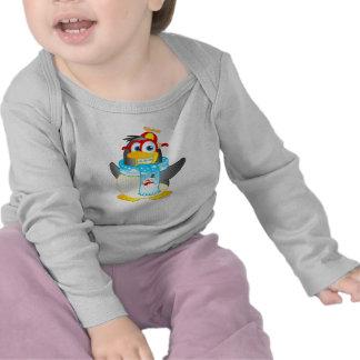 Wobble Penguin Cartoon on Baby Long Sleeve T-shirt