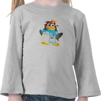 Wobble Penguin Cartoon on Girls T-shirt