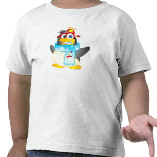 Wobble Penguin Cartoon on Toddler's T-shirt