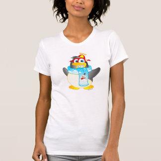 Wobble Penguin Cartoon on Women's T-shirt
