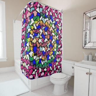 Wobbly Vibrant Tiles Shower Curtain
