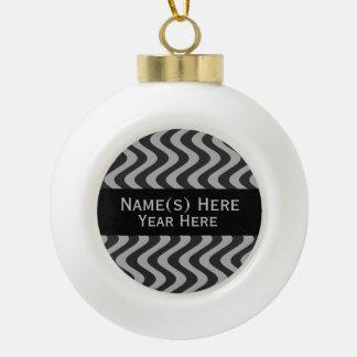 Wobbly Waves (Black/Grey) Ceramic Ball Ornament