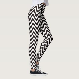 Wobbly Waves (Black/White) Leggings