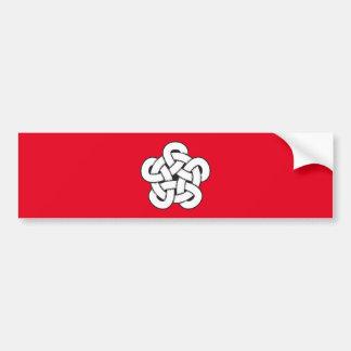 wodcut style quintuple knot bumper sticker