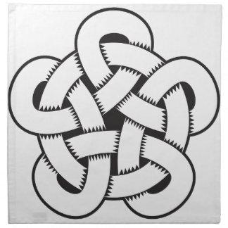 wodcut style quintuple knot napkin