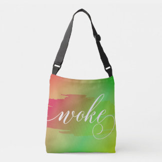 Woke modern watercolor slang words tote bag purse