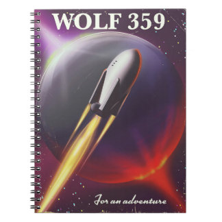 """Wolf 359 """"for an Adventure"""" Space travel poster Notebooks"""