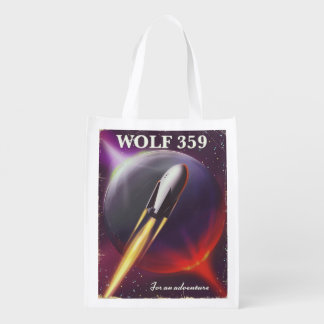 "Wolf 359 ""for an Adventure"" Space travel poster Reusable Grocery Bag"