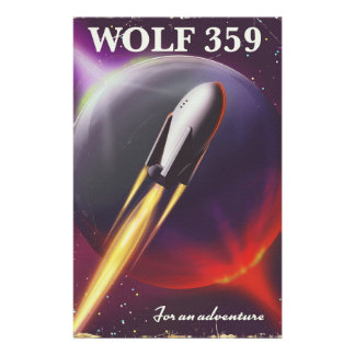 "Wolf 359 ""for an Adventure"" Space travel poster Stationery"