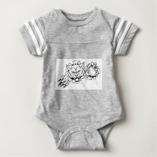 Wolf American Football Mascot Breaking Background Baby Bodysuit
