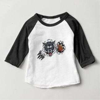 Wolf American Football Mascot Breaking Background Baby T-Shirt