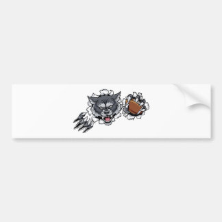 Wolf American Football Mascot Breaking Background Bumper Sticker