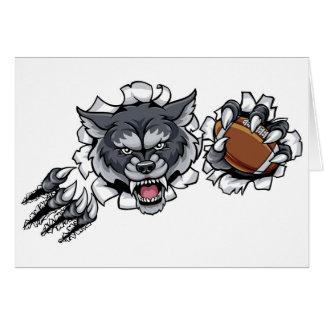 Wolf American Football Mascot Breaking Background Card