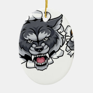 Wolf American Football Mascot Breaking Background Ceramic Ornament