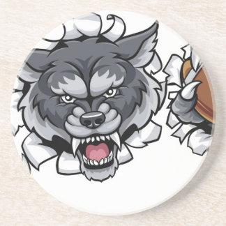 Wolf American Football Mascot Breaking Background Coaster