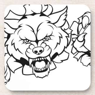 Wolf American Football Mascot Breaking Background Coaster