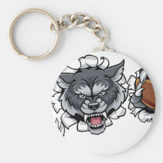 Wolf American Football Mascot Breaking Background Keychain