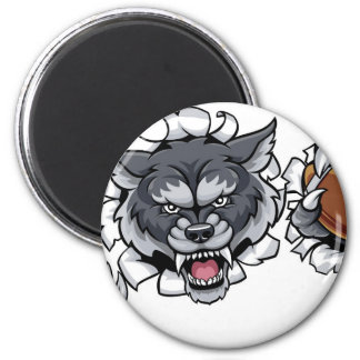 Wolf American Football Mascot Breaking Background Magnet