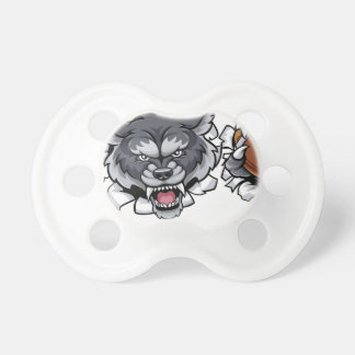 Wolf American Football Mascot Breaking Background Pacifier