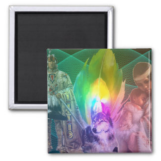 Wolf and Amerindians Square Magnet