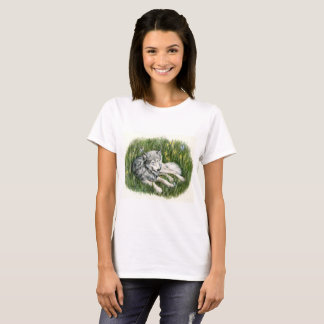 Wolf and Butterflies Drawing T-shirt