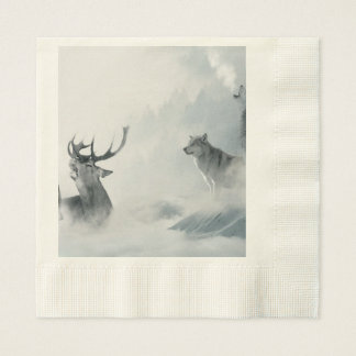 Wolf and Deer Disposable Napkins