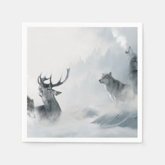 Wolf and Deer Paper Napkins